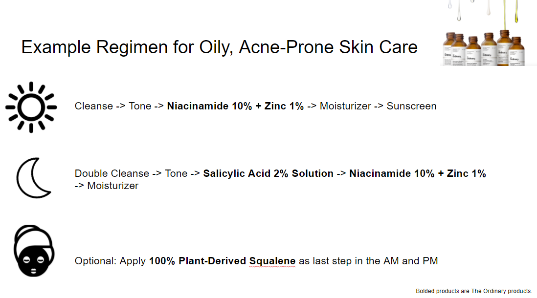 Example skincare regimen for oily, acne prone skin from The Ordinary